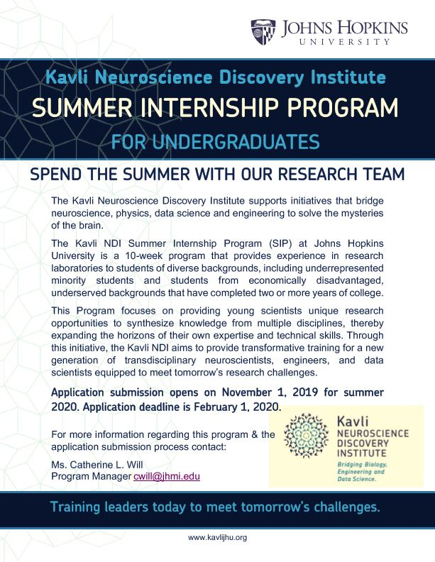 Summer Internship Program at Johns Hopkins University