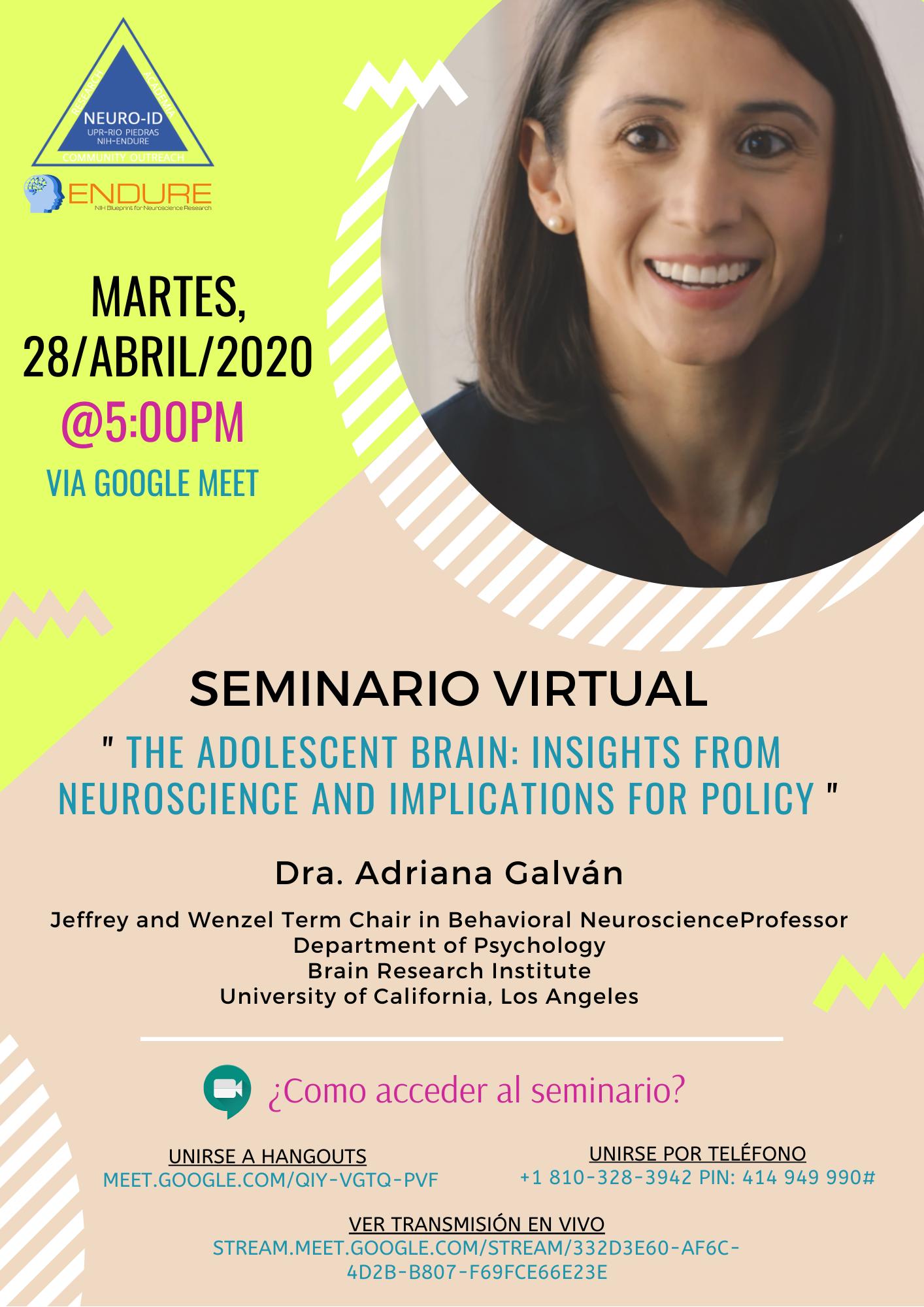 Virtual Seminar Dr Adriana Galvan