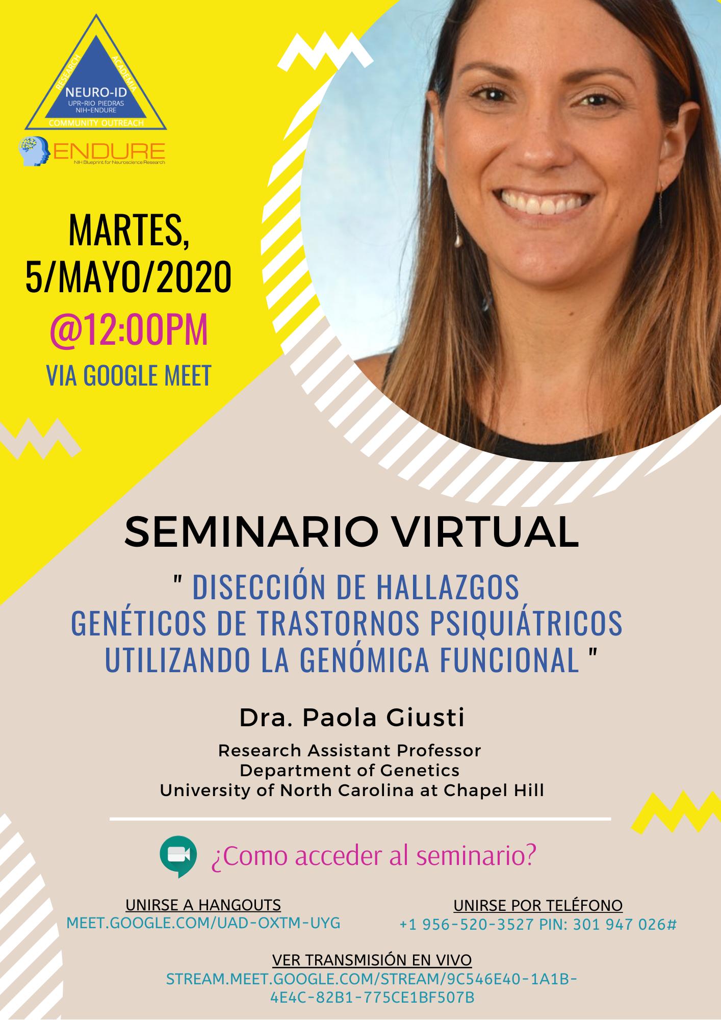 Virtual Seminar Dr Paola Giusti